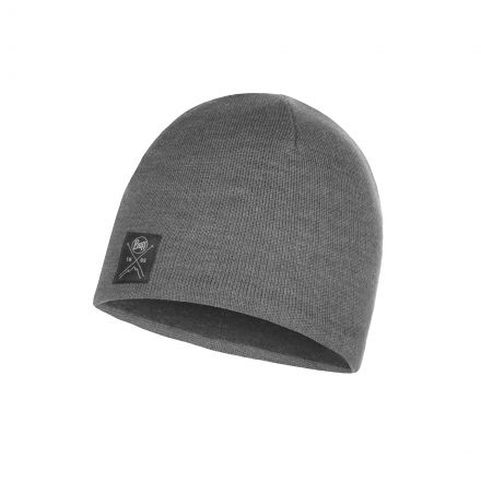Buff Solid Grey Knitted Polar Hat
