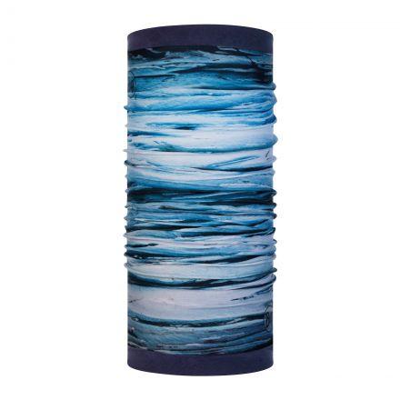 Buff Polar Reversible Fleece Lined Neck Warmer in Blue Tow Print