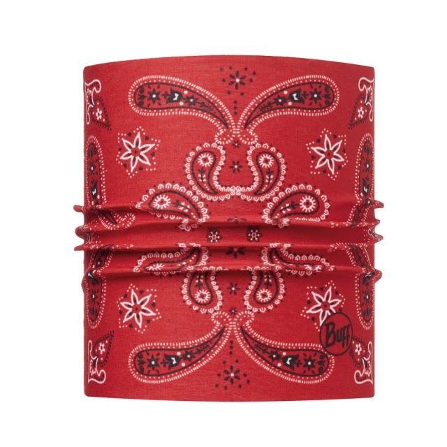 Buff Bandana for Small Terrier Dogs in Red Paisley Dog Print