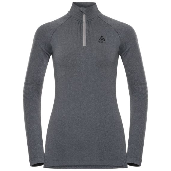 Odlo Womens Performance Warm Long Sleeve Half Zip Base Layer Top