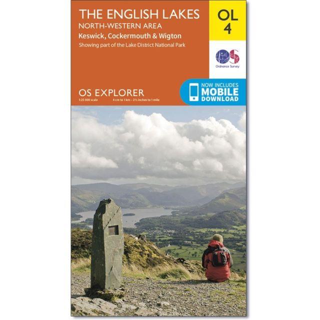 OL4 Active Map English Lakes - North-western area Ordnance Survey