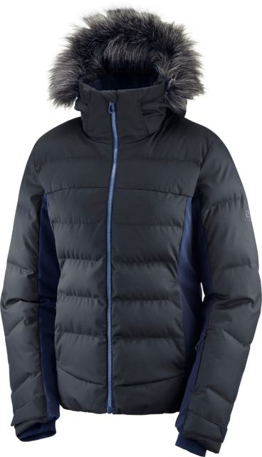 Salomon Womens Stormcozy Padded Ski Jacket with Faux Fur Hood