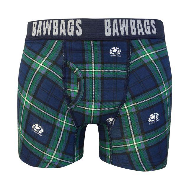 Bawbags Men's Scotland Rugby Tartan Boxer Shorts