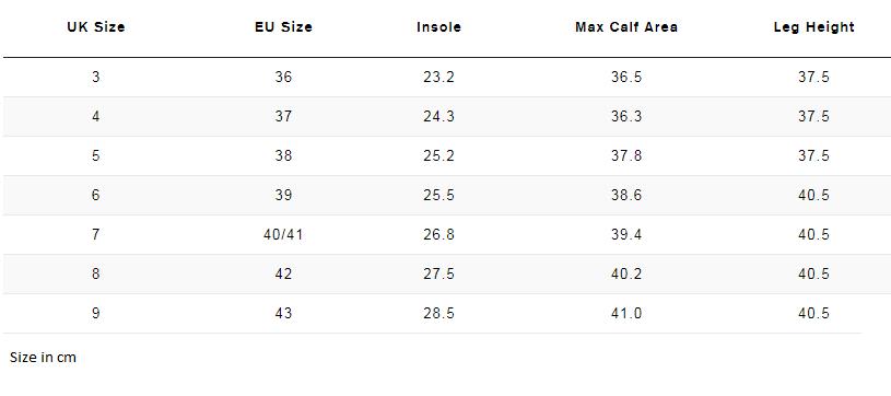 Wellie Size Chart Measurements cm